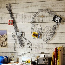 Metal wire guitar wall decor art music wall sculpture wire headset wall decor