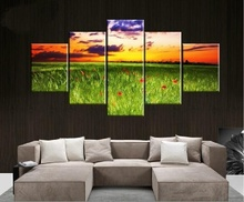 Tableaux Design Sunset and Grassland Photo 5pcs Canvas Art Modern Wall Pictures Oil Painting For Home Decor Poster and Prints(China)