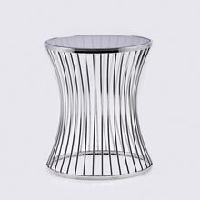 Goolee High Quality Elegant Silver Glass Side Table(China)