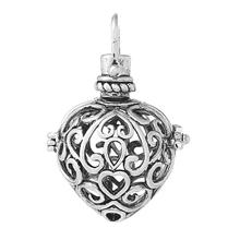 "DoreenBeads Copper Charm Pendants Heart Wish Box Antique Silver Flower Hollow Can Open 35mm(1 3/8"")x 24mm(1""),1 Piece(China)"
