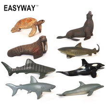 Easyway Sea Life Animals Turtle Toys Set Turtles Figurines Walrus Plastic Shark Fish Model Kids Toy Educational Zoo Figure PVC(China)