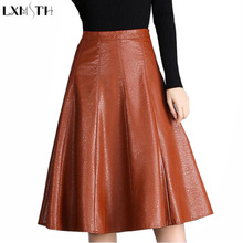 LXMSTH Leather Skirt Black Camel Womens Pleated