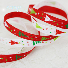 "(2 colors mix) 3/8"" (10mm) white and red printed christmas trees Grosgrain Ribbon gift ribbons"