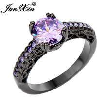 JUNXIN Purple Crystal Zircon Cheap Wedding Rings Black Gold Filled Women Rings Promotion Bijou Femme Nouveaute 2017 RB0381