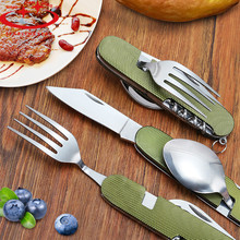 Outdoor Portable Fork knife tableware Tools Stainless Steel 3 in1 Multi-Function Folding Fork knife Travel sets Hot Sale(China)