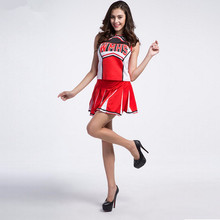 Baseball Cheerleading Glee Cheerleader Costume Aerobics Clothing Uniforms for Performances Halloween Fancy Dress Size S M L XL