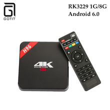 H96 Android TV Box RK3229 Quad core Cortex A7 Android 6.0 1G/8G HDMI 2.0 WIFI 4K 1080P H.265 Support IPTV Kody Media Player