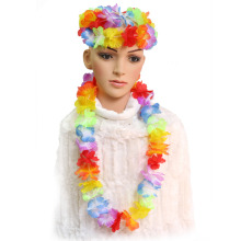 10 pcs Hawaiian Beach Luau Fun Fancy Dress Flower Garland Lei Leis Necklace Colorful Deco Party Supplies(China)