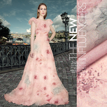 silk chiffon fabric thin high-end floral mulberry silk fabrics beach dress fabrics wedding dress material 50cmx135cm