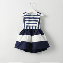 2017 Sweet New Girl Kids Fashion Children Korean Style Clothing Sleeveless Summer Dress Baby Girls Striped Navy Vest Dresses