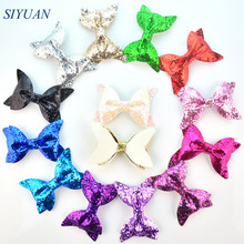 Express Free Wholesale 300pcs/lot 4*2.4 inch Synthetic Leather Glitter Bow Kids Hair Accessories 14 Colors U Pick HDJ110(China)