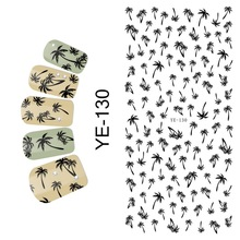 1X WATER DECAL NAIL STICKER PALM TREE BLACK BROWN GREEN CONCH BEACH  PETAL WIND MILL YE130-135