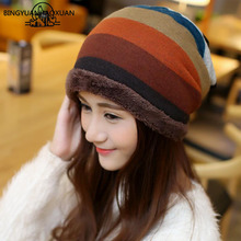 BINGYUANHAOXUAN 2017 Warm Women Skullies Winter Knit Hat Wool Hat Plus Thick Velvet Hat Sport Ski Band Men's Hats(China)