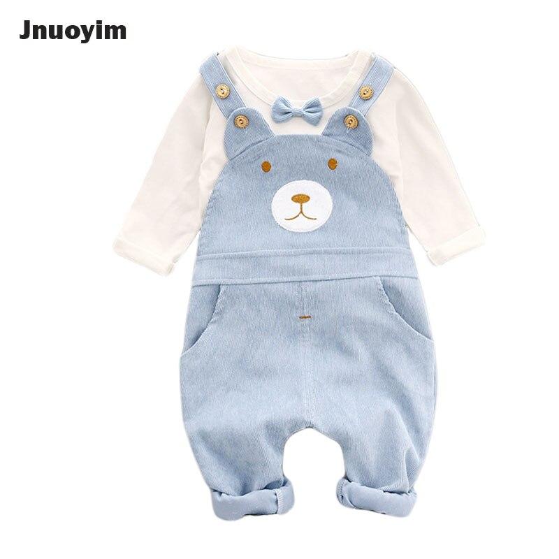 Cute Bear Design Children Boys Girls Clothing Sets Bowknot Fashion Tees T Shirt +Suspenders Pants 2pcs Set Kids Overalls Clothes<br>