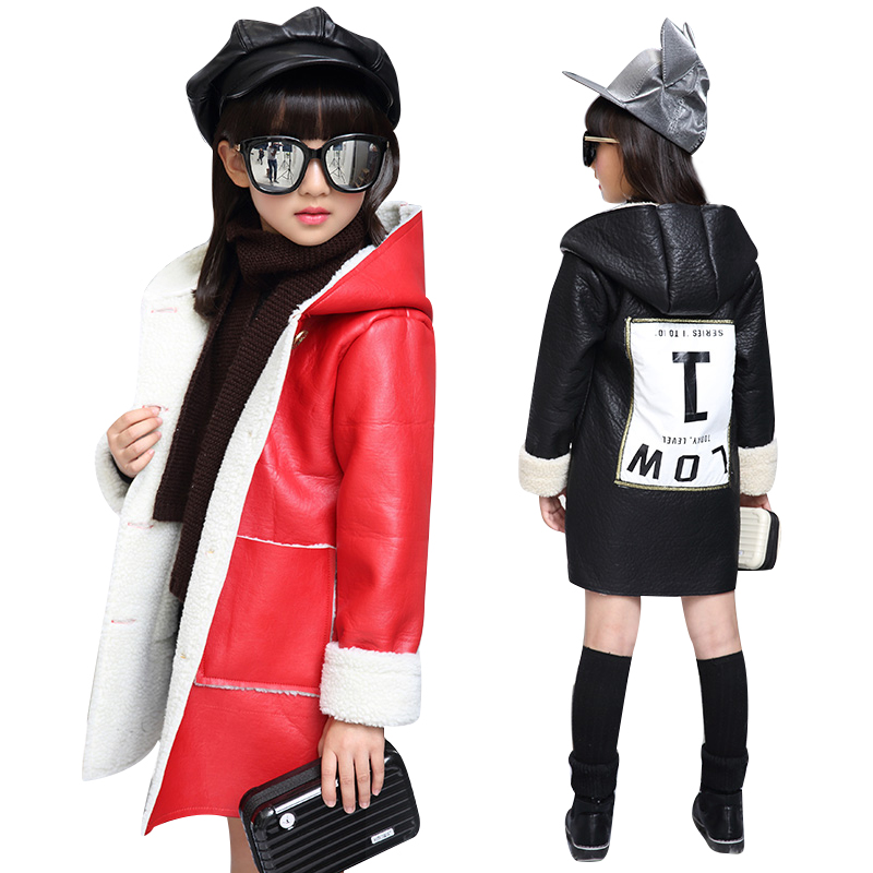 2017 Trendy Kids Leather Hooded Jacket Children Girls Single Breasted Leather Trenchcoat Outwear For Baby Child Jackets and Coat<br><br>Aliexpress