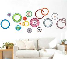 Free Shipping 60*90CM Hot Selling Colorful Circles DIY 3D Removable PVC Wall Sticker/Art Home Decoration Adhesive Sticker