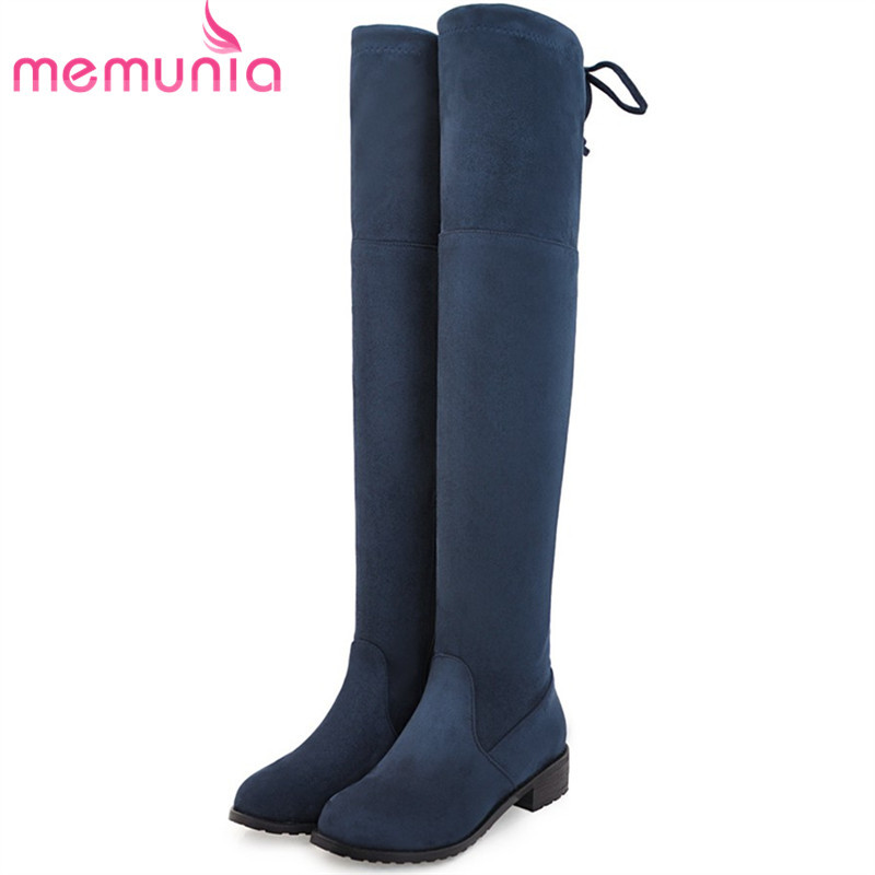 MEMUNIA Top quality over the knee boots fashion elegant womens boots female zip flock solid med heels shoes woman big size 34-44<br>
