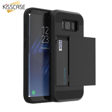 KISSCASE For Samsung S8 Plus Armor Case Galaxy S8 S7 S6 Edge Card Slot Phone Cases For Samsung S8 Plus Silicon PC Hybrid Cover