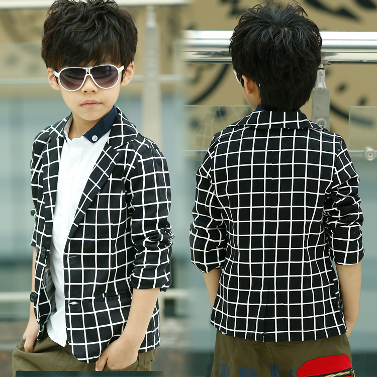 Spring Autumn Thin Black Plaid Casual Boys Blazers Kids Suits Tops Children Outerwear Baby Kids Clothes 2017 t2DBO(China (Mainland))