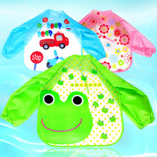 2016 Hot children's gowns anti-wear waterproof baby baby EVA Disposable eating clothes bib around the mouth long-sleeved