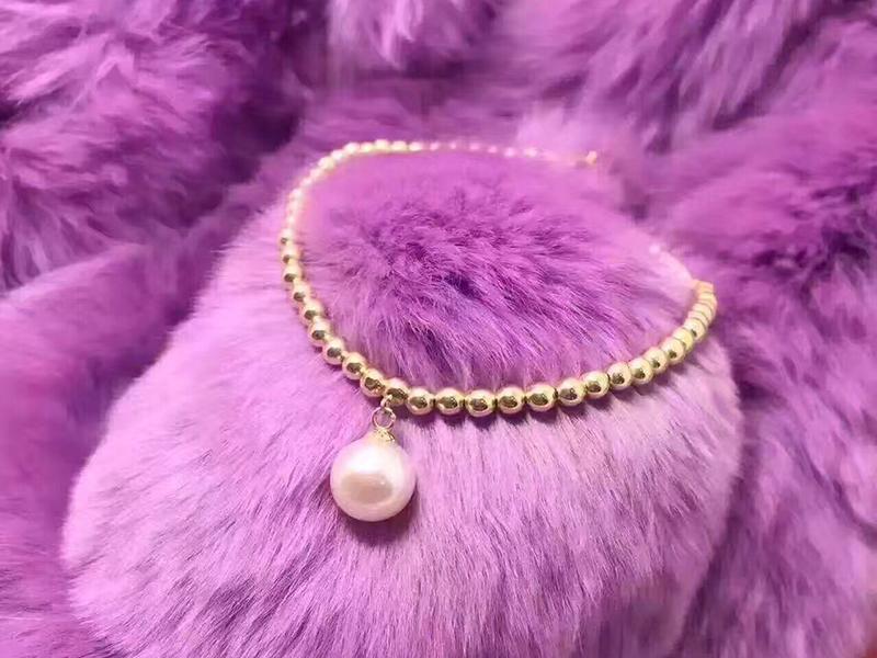 Sinya Natural pearls 18k gold beads strand bracelet for women girls Mom lover length 18cm can adjustable pearl diameter 7-8cm  (5)