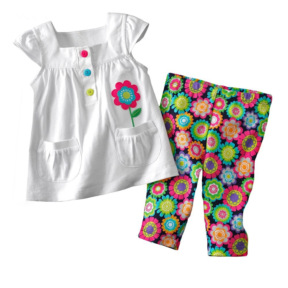 1-6Y girls clothing set baby girl clothes suits for girls summer t-shirt + pants children clothing for baby flower cotton<br><br>Aliexpress