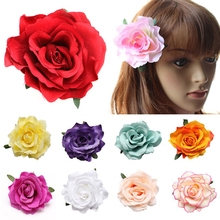 Fashion Girls Rose Flower Brooch Hair Pins Clips Slides Grip Wedding Bridal Hair Jewelry 17 Colors