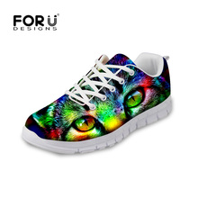 FORUDESIGNS Camouflage Design Men Fashion Flats Casual Shoes 3D Cool Cat Owl Prints Man Lace-up Flat Leisure Shoes for Men Boy(China)