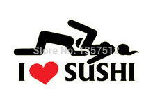 Hot Sale I Love Sushi Sticker Car Window Truck Door Bumper Decal Vinyl Funny JDM Drift Rally 8 Colors(China)