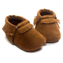 Newborn Infant PU Suede Leather Moccasins Baby Boy Girl Tassel Soft Soled Non-slip Crib Shoes S01