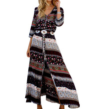 Lace Girl 2017 Autumn Printed Long Sleeve Fashion Dress Bohemian Women Long Maxi Dress Floral Retro Boho Dresses Without Belt