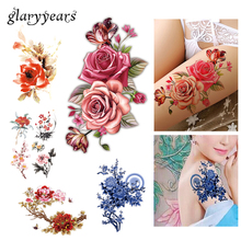 Flower Bird Decal 1pc Fake Women Men DIY Henna Body Art Tattoo Design HB556 Butterfly Tree Branch Vivid Temporary Tattoo Sticker(China)