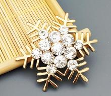 20pcs 50mm Gold Plated Crystals SnowFlake For Scrapbooking Craft Hair Clip iPhone Case Decoration(China)