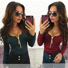 2017 Fashion Women zippers Tee Shirt Cozy Long Sleeve o-neck Tops Sexy chiffon black blue red T Shirt ht(China)