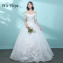 It s YiiYa Boat Neck Floor-length Wedding Dresses Elegant Lace Brides Gowns  Vestidos De Novia Casamento HX017 c697a032ecc4
