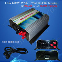 micro inverter 600w wind grid tie 22v-60v ac to ac  90-130V/190-260V