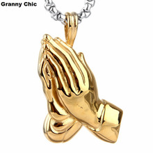 Granny Chic Mens Jewelry Yellow Gold Stainless Steel Prayer Palm Religious Pendant Box Necklace
