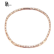 "6mm Width Bio Energy Titanium Choker Necklace for Women Magnetic Power Jewelry Rose Gold Color 20""(China)"