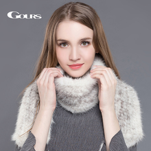 Gours Real Fur Scarf for Women High Quality Luxury Knitted Mink Fur Long Big Scarves Brand Thick Warm Winter New Arrival GLWJ001