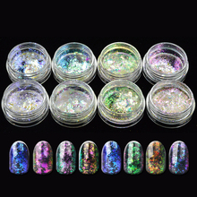1 Bottle 0.1g Light 2017 Chameleon Holographic Nail Art Glitter Paillette Flakes Powder 3d Dust Tips Decoration Tool SABS28-35