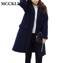 MCCKLE Women's navy blue Korean style Long Coats And Blends 2016 Autumn Winter Fashion Design women slim warm Outerwear jackets