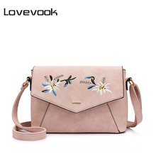LOVEVOOK brand shoulder bag female flower embroidery handbag for women messenger bags envelope crossbody bag Blue/Pink/Black