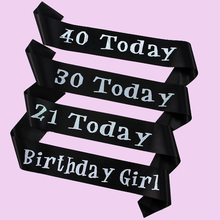 12pcs of Happy birthday sash adult ceremony birthday girl 21 30 40 today souvenirs Black event party supplies birthday ribbon(China)