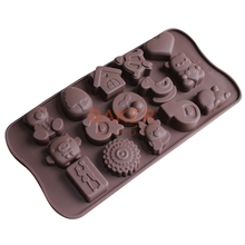 lovely chocolate cake bakeware molds 15 lattices silicone Cherry animal heart bear duck etc SICM-115-25(China)