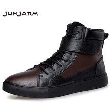 JUNJARM 100% Genuine Leather Men Boots Winter Warm Velvet Ankle Snow Boots Men Shoes Fashion Cow Motorcycle Casual Boots 36-48