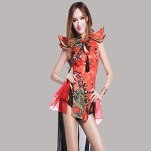 2017 Songyuexia New Arrival Ds costume vintage chinese style sexy dj female singer performance wear twirled clothing