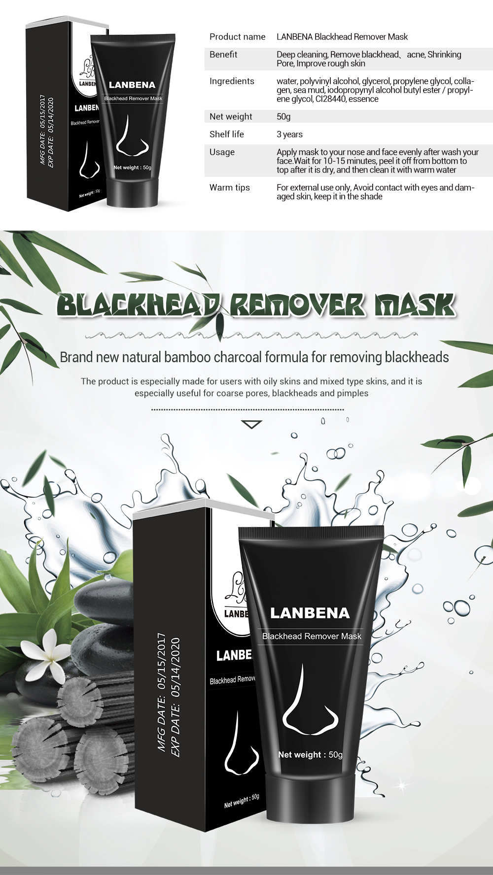 LANBENA Blackhead Remover Nose Black Mask Face Care Mud Acne Treatment Peel off Mask Pore Strip Skin Care Peel Mask 2