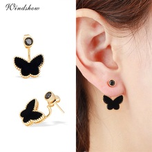 Gold Color Black Butterfly Round CZ Double Side Stud Earrings For Women Girls Ear Jacket Front and Back Jewellery Jewelry Aros