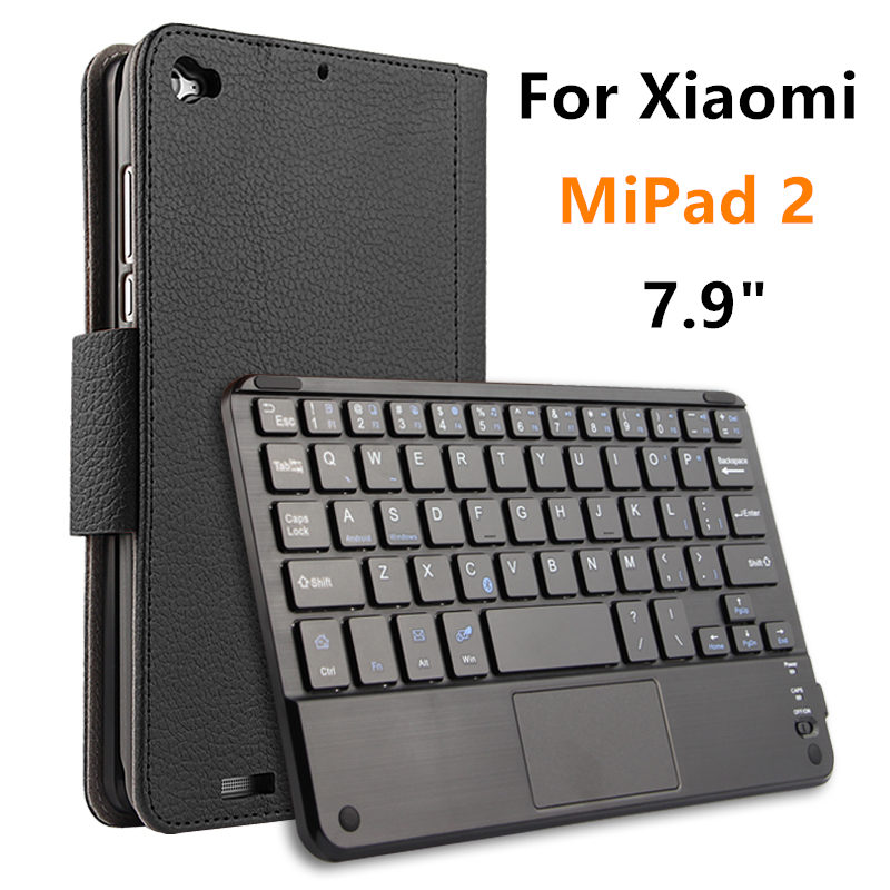 Case For Xiaomi MiPad 2 Protective Wireless Bluetooth keyboard Smart cover Leather Tablet PC mipad2 Protector Sleeve 7.9 PU<br>