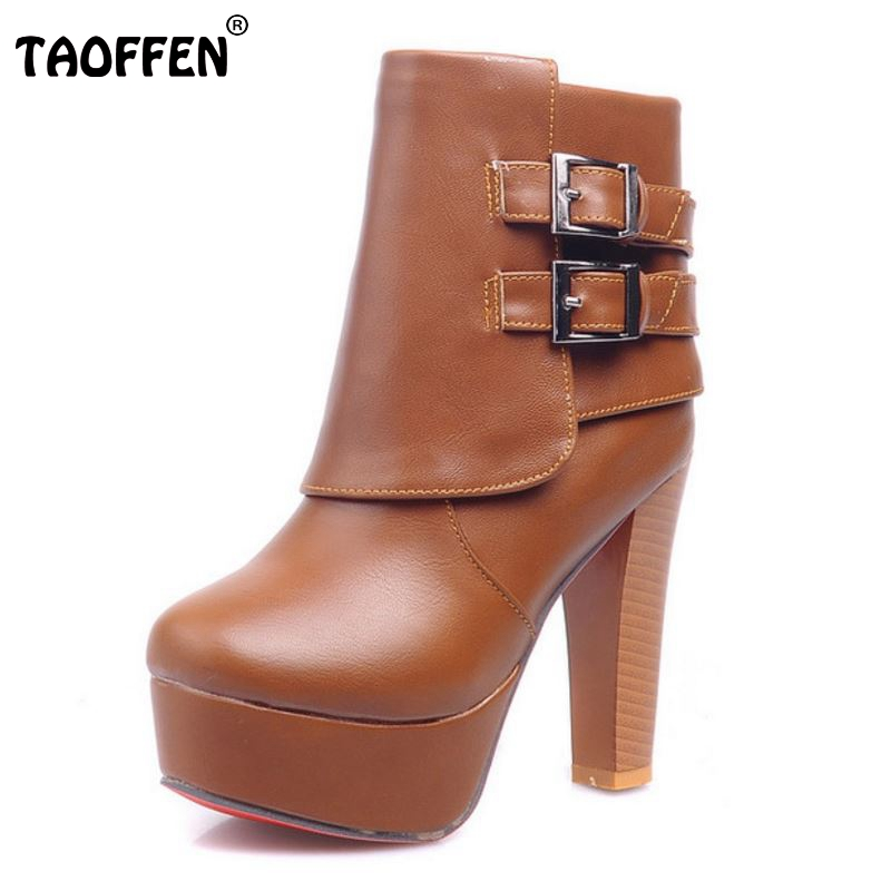 Fashion Autumn And Winter Platform Ankle Boots Women Buckle Zip Thick Heel Martin Boots Ladies Worker Boots Size 32-42<br>